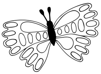 Abstract black line butterfly for tattoo