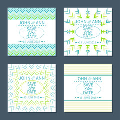 Set of save the date cards.