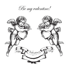 Valentines day. Hand drawn angel sketch and amur, cupid art. Vector illustration
