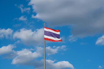Thai flag with blue sky. Red white and blue color with copy space.