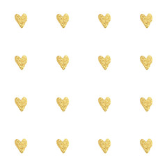 Gold hearts seamless pattern.