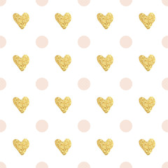 Gold hearts and pink dots pattern.