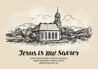 Church, landscape sketch. Religion symbol. Vintage vector illustration