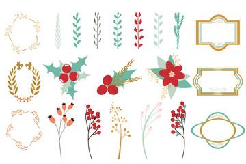 Set of floral christmas decor elements.