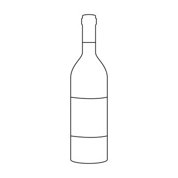 Bottle of red wine icon in outline style isolated on white background. Wine production symbol stock vector illustration.