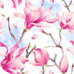 Watercolor Floral Spring Seamless Pattern with Magnolia