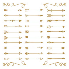 Hand draw arrows set