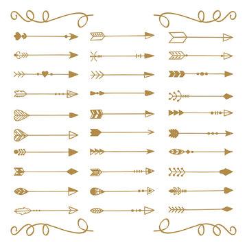 Hand draw arrows set
