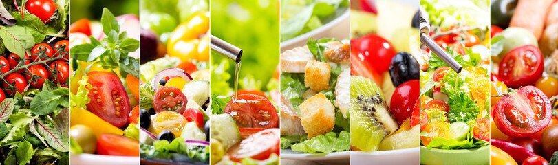 Wall Mural - collage of various salad