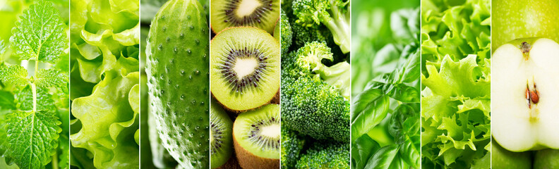 collage of various green food