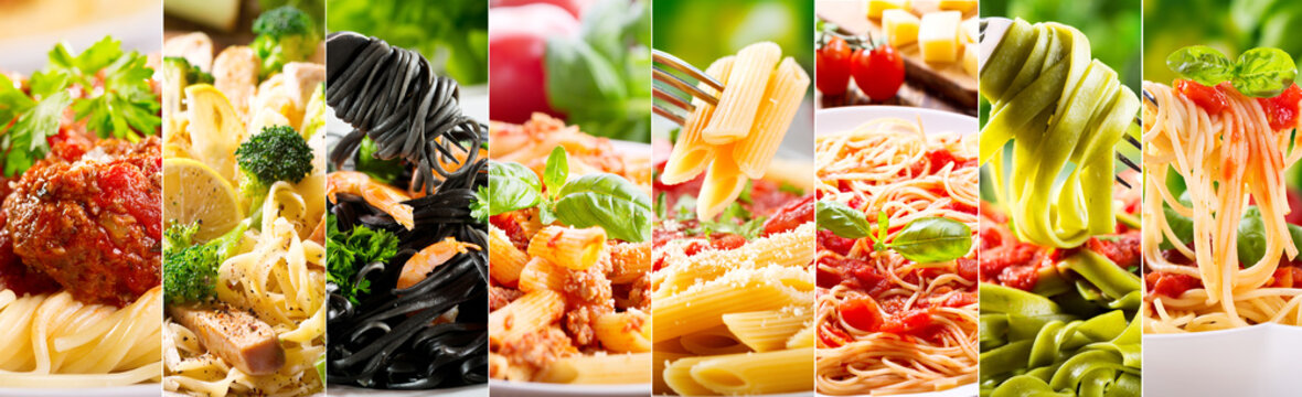 collage of various pasta