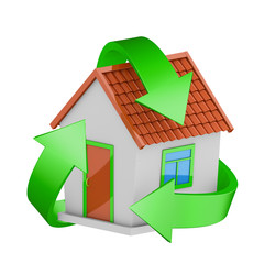 Recycling sign and a house on a white background. 3D rendering.