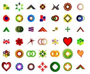 A set of logos and icons suitable for graphic designers and new companies and websites