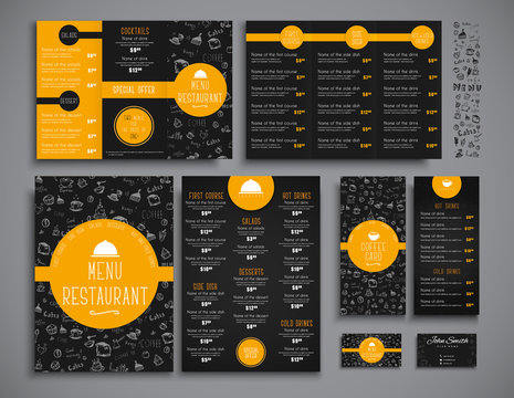 Set A4 menu, folding brochures and flyers narrow for a restauran