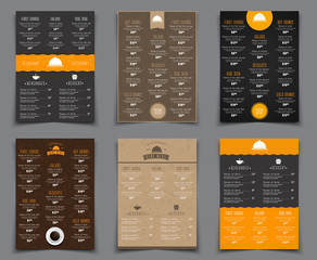 Set A4 menu for restaurants and cafes. Templates flyers black, b