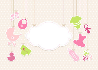 Card Baby Girl Symbols Hanging Cloud Stars Beige