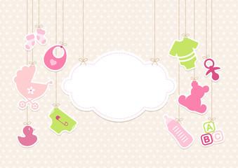 Card Baby Girl Symbols Hanging Cloud Stars Beige