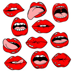 Set Of Female Lips Icons In Pop Comic Style.