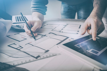 architect architecture drawing project blueprint working design Fototapete