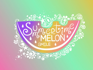 Illustration Of Watermelon And Hand Drawn Lettering.