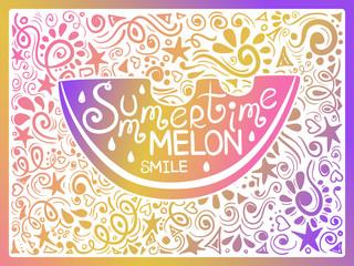 Colorful Illustration Of Watermelon And Hand Drawn Lettering.