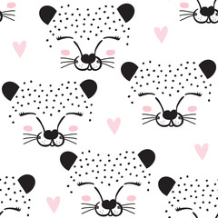 seamless leopard face pattern vector illustration