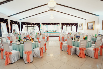 The wedding tables in restaurant