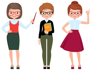 Set of vector cartoon teacher in different poses