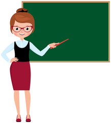 Woman teacher in full length standing at the school blackboard a