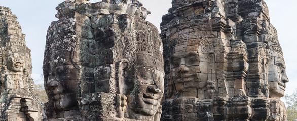 Gesichter auf dem Tempel von Bayon, Angkor, Kambodscha