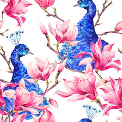 Seamless Watercolor Pattern with Pair of Peacock, Flowers Magnol