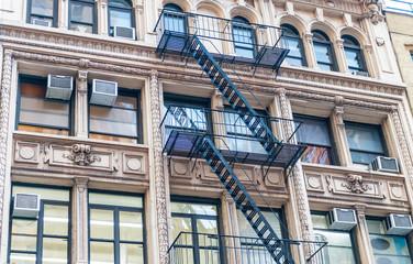 External metal stairs on New York building
