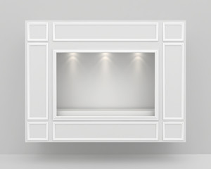 Shop exterior with large empty showcase. Mock up. 3d rendering