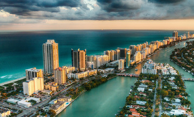 Aerial view of Miami Beach skyline, Florida