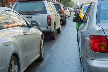 Many car with traffic jam in bangkok capital city