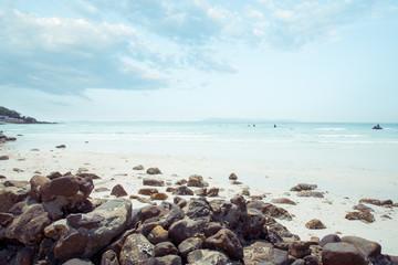 Vintage tropical coast (seascape) in summer. Landscape of seaside. vintage effect color tone.