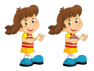 Cartoon set of young girls standing and washing up face - illustration for children