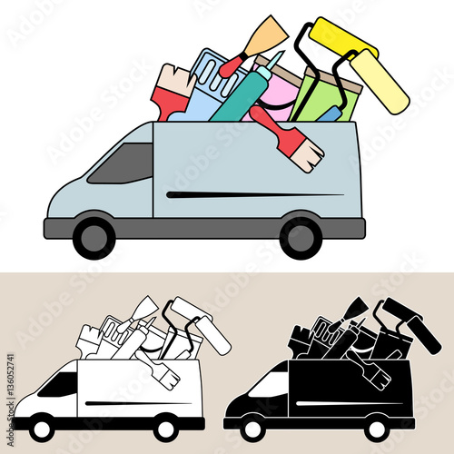 Van delivering mobile service with painting and decorating tools and ...