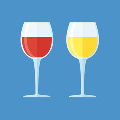 Glasses with red and white wine isolated on blue background. Vector illustration.