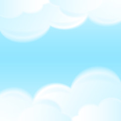 Abstract blue sky with white clouds vector background.