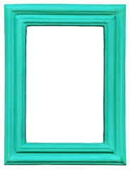 Wooden Photo Frame turquoise, Isolated