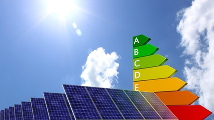Energy efficiency graph next to a row of solar panels