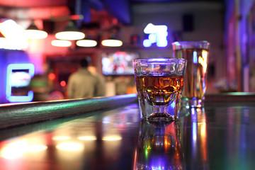 Whiskey and beer at a bar