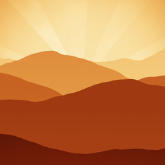 Orange Rust Brown Sunset Mountains hills Peaks Digital Illustration