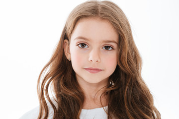 Closeup of pretty cute little girl with long hair