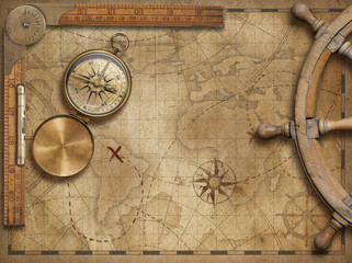 Wall Mural - adventure and explore concept still life with old nautical world map