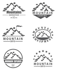 monochrome collection of various mountain icons with clouds