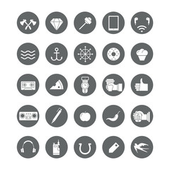 Set of round icons with hipster elements.