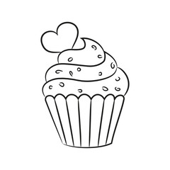 Cupcake with heart on the white background.