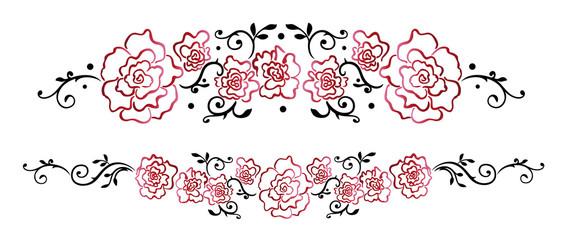 Ranke mit filigranen roten Rosen und Blättern, Vektor Set.